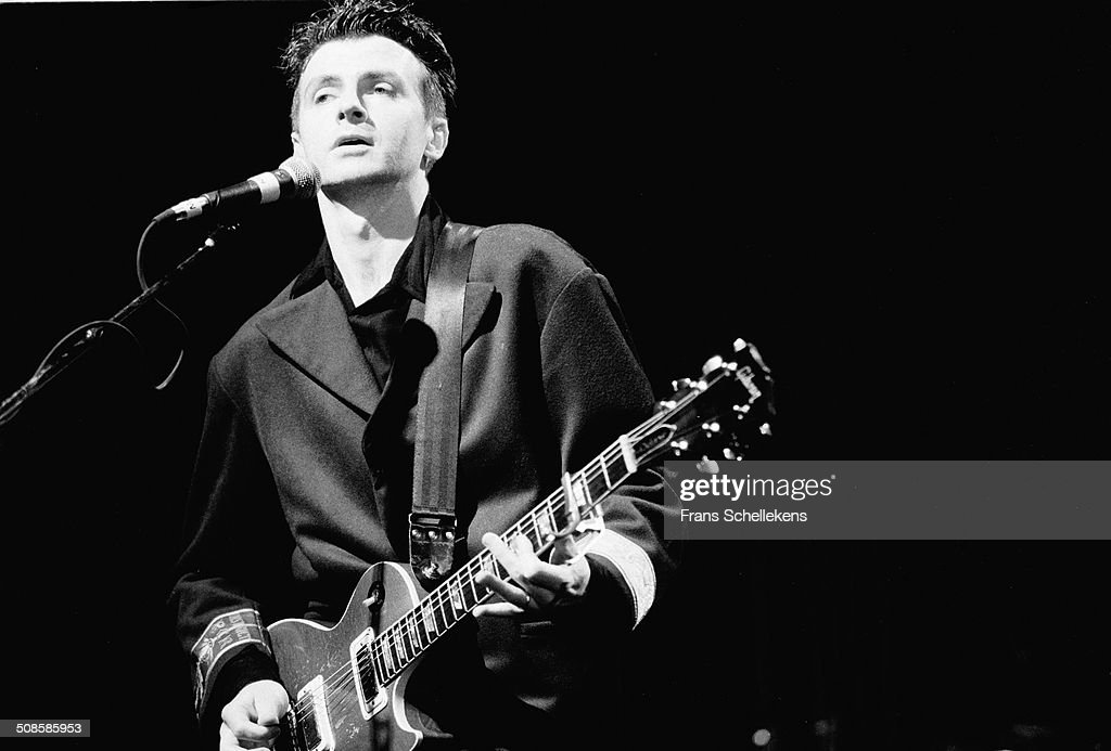 Neil Finn, guitar-vocal, performs with Crowded House at Vredenburg on 15th October 1991 in Utrecht, Netherlands.