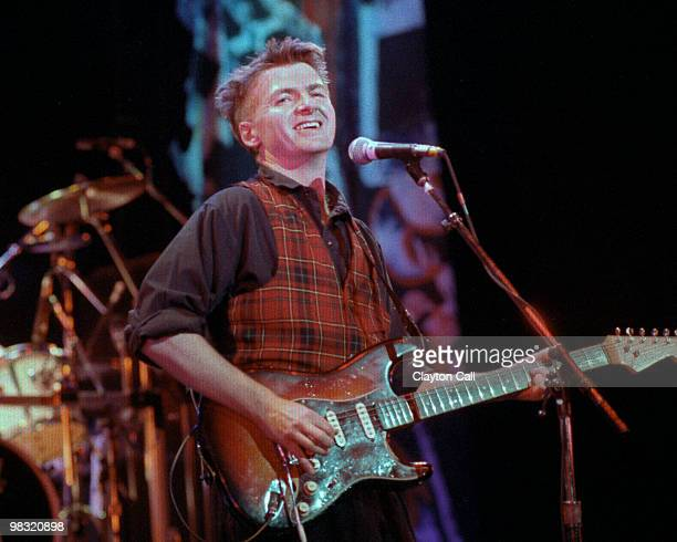 Neil Finn playing fender stratocaster guitar with Crowded House at the Warfield Theater in San Francisco on April 05 1989