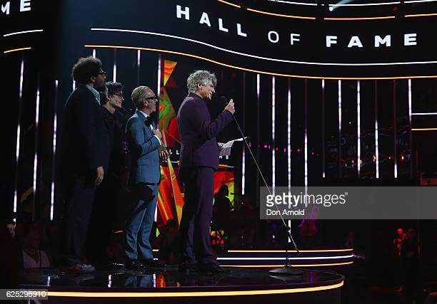 Neil Finn receieves a Hall of Fame Award during the 30th Annual ARIA Awards 2016 at The Star on November 23 2016 in Sydney Australia