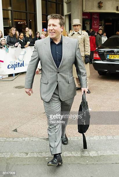 Neil Fox leaves the Capital FM Awards April 7, 2004 at the Lancaster Gate Hotel in London.