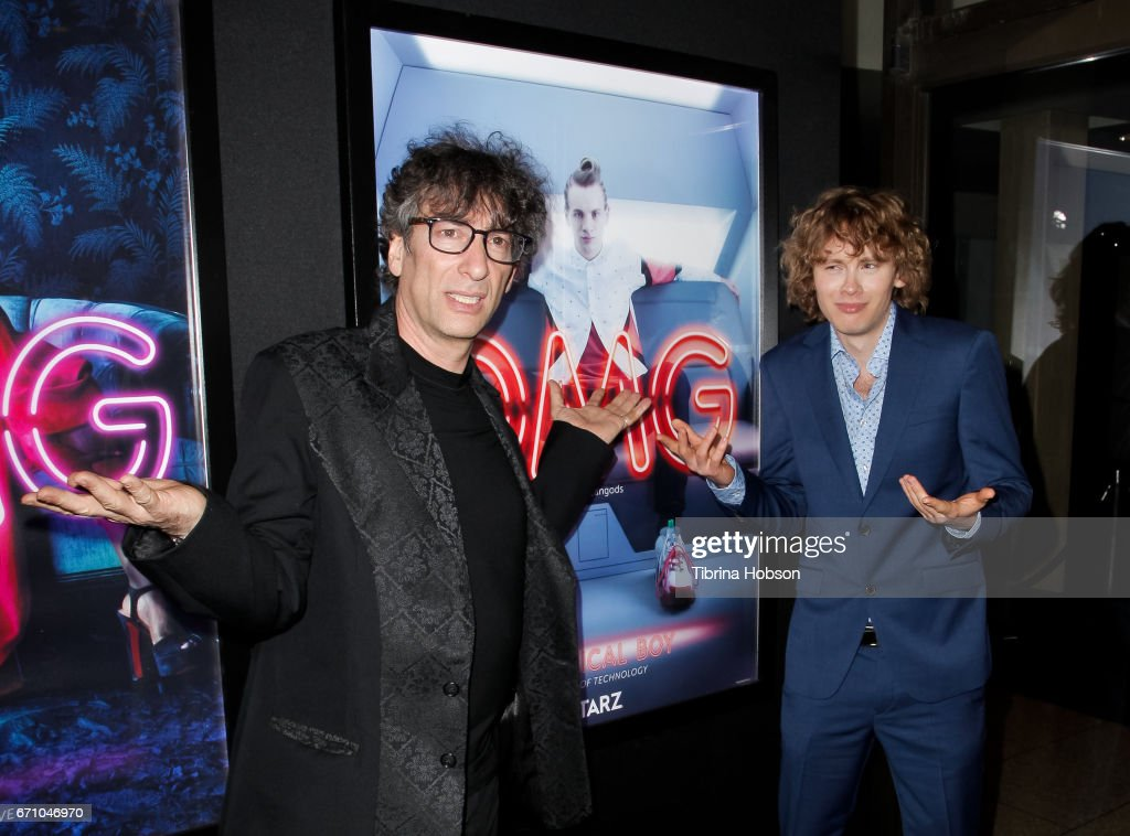 Neil Gaiman and Bruce Langley attend the premiere of Starz's 'American Gods' at ArcLight Cinemas Cinerama Dome on April 20, 2017 in Hollywood, California.