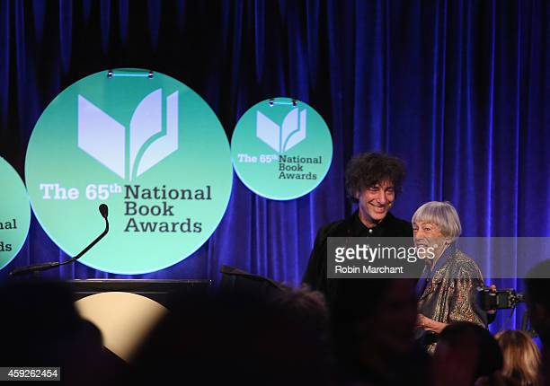 Neil Gaiman and Ursula K Le Guin attend 2014 National Book Awards on November 19 2014 in New York City