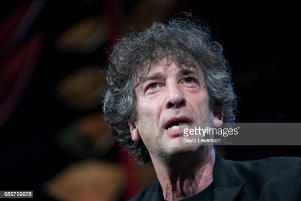 Neil Gaiman author at the Hay Festival on May 29 2017 in Hay on Wye United Kingdom