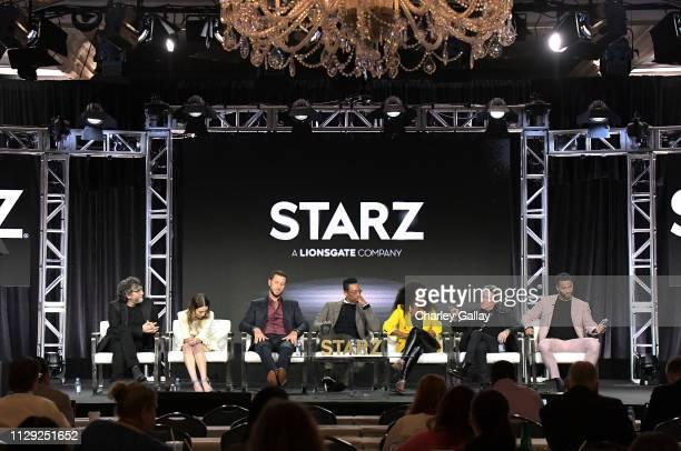 Neil Gaiman, Emily Browning, Pablo Schreiber, Orlando Jones, Yetide Badaki, Ian McShane and Ricky Whittle of 'American Gods' speak onstage during...