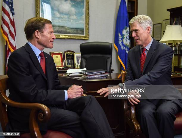Neil Gorsuch right nominee for the Supreme Court meets with Sen Richard Blumenthal on February 2017 in Washington DC
