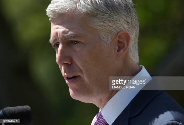 Neil Gorsuch speaks after he was swornin as an associate justice of the US Supreme Court in the Rose Garden of the White House on April 10 2017 in...