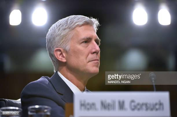 Neil Gorsuch testifies before the Senate Judiciary Committee on his nomination to be an associate justice of the US Supreme Court during a hearing in...