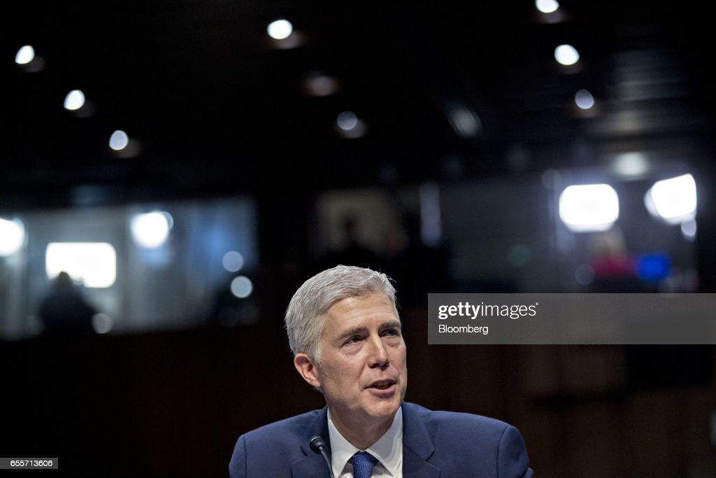 Neil Gorsuch, U.S. Supreme Court nominee for U.S. President Donald Trump, speaks during a Senate Judiciary Committee confirmation hearing in Washington, D.C., U.S., on Monday, March 20, 2017. Gorsuch goes before a Senate committee as a heavy favorite, given Republican control, to win confirmation to a lifetime seat on the nations highest court. Photographer: Andrew Harrer/Bloomberg via Getty Images