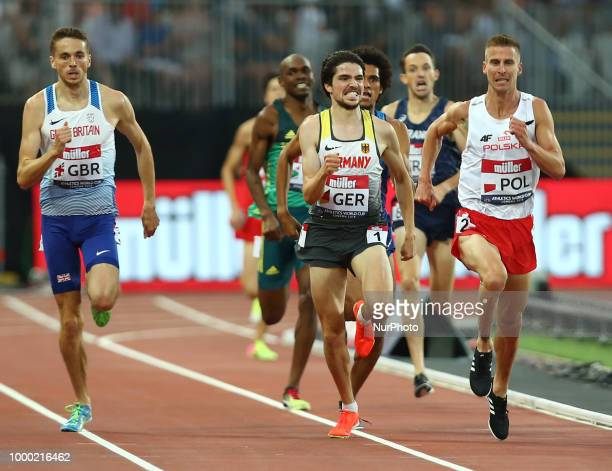 LR Neil Gourley of Great Britain and Northern Ireland Neil Gourley of Germany and Marcin Lewandowski of Poland compete in the 1500m Men during...
