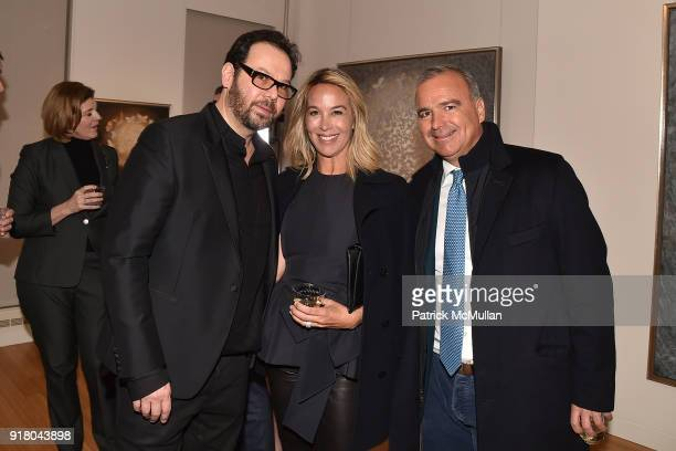 Neil Grayson Hillary Thomas and JP Conte attend Neil Grayson Industrial Melanism solo exhibition at Eykyn Maclean Gallery on February 13 2018 in New...
