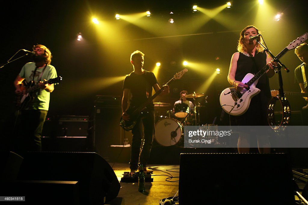 Neil Halstead, Nick Chaplin and Rachel Goswell of Slowdive perform on stage at Village Underground on May 19, 2014 in London, United Kingdom.