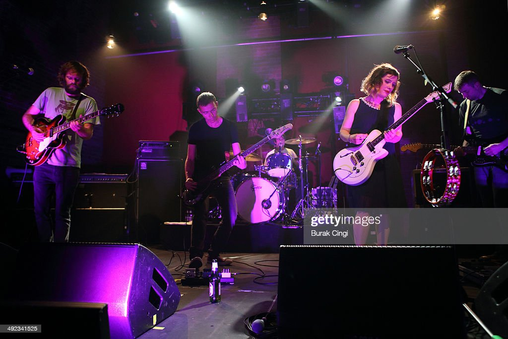 Neil Halstead, Nick Chaplin, Simon Scott, Rachel Goswell and Christian Savill of Slowdive perform on stage at Village Underground on May 19, 2014 in London, United Kingdom.