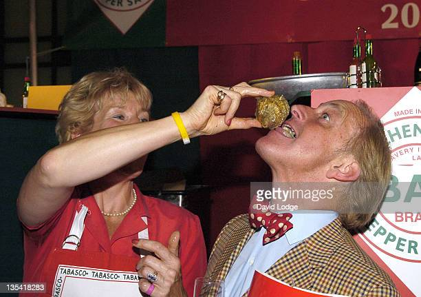 Neil Hamilton and Christine Hamilton during British Oyster Opening Championships at Bibendum Oyster Bar in London Great Britain