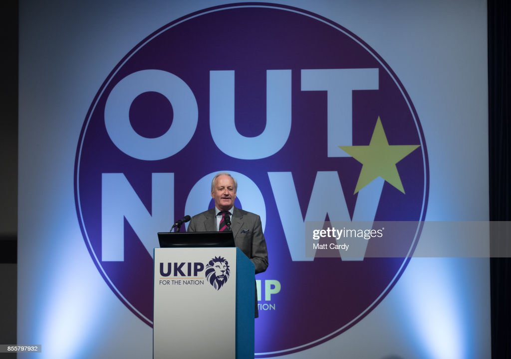 Neil Hamilton speaks at the UKIP annual conference being held at theÊRivieraÊInternational Centre on September 30, 2017 in Torquay, England. The anti-EU pro-Brexit party announced today its new leader, Henry Bolton, the fourth in the space of a year.