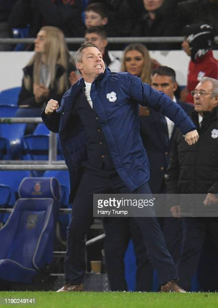 Neil Harris Manager of Cardiff City celebrates at the final whistle during the Sky Bet Championship match between Cardiff City and Stoke City at...