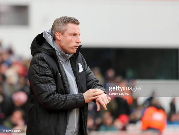 Neil Harris Manager of Cardiff City during the Sky Bet Championship match between Stoke City and Cardiff City at Bet365 Stadium on February 22 2020...