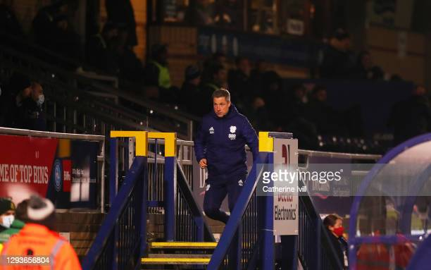 Neil Harris, Manager of Cardiff City is sent off after being shown a red card by referee, Leigh Doughty during the Sky Bet Championship match between...