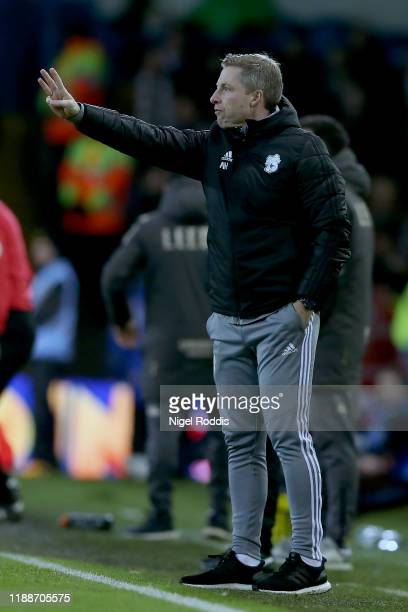 Neil Harris manager of Cardiff City reacts during the Sky Bet Championship match between Leeds United and Cardiff City at Elland Road on December 14...