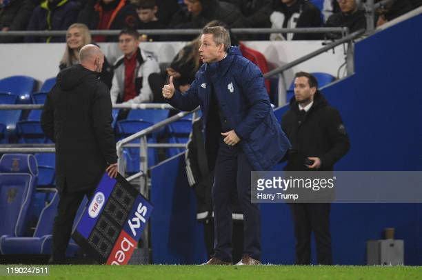 Neil Harris Manager of Cardiff City reacts during the Sky Bet Championship match between Cardiff City and Stoke City at Cardiff City Stadium on...