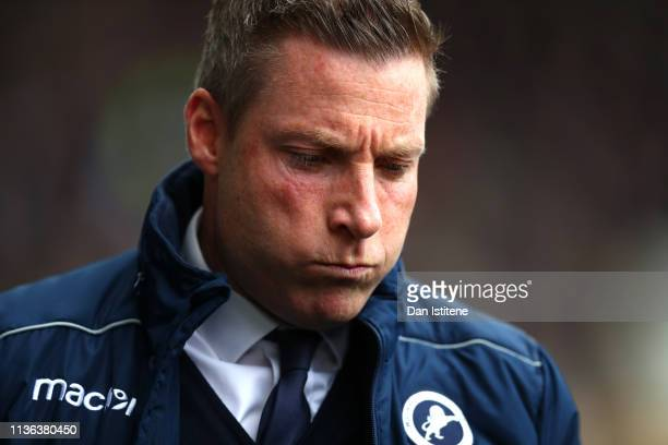 Neil Harris Manager of Millwall during the FA Cup Quarter Final match between Millwall and Brighton and Hove Albion at The Den on March 17 2019 in...