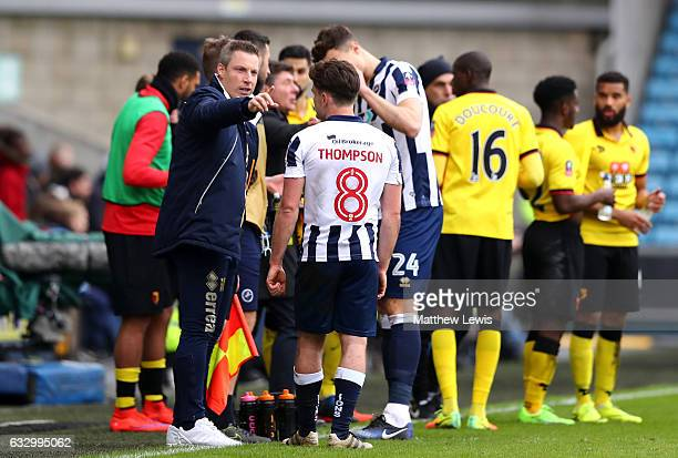 Neil Harris manager of Millwall gives his team instructions during The Emirates FA Cup Fourth Round match between Millwall and Watford at The Den on...