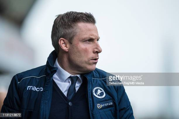 Neil Harris manager of Millwall looks on during the FA Cup Quarter Final match between Millwall and Brighton and Hove Albion at The Den on March 17...