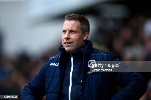 Neil Harris manager of Millwall looks on during the Sky Bet Championship between Millwall and Rotherham United at The Den on February 02 2019 in...