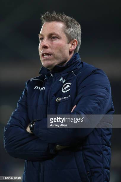Neil Harris manager of Millwall looks on during the Sky Bet Championship match against Hull City at the KCOM Stadium on February 26 2019 in Hull...