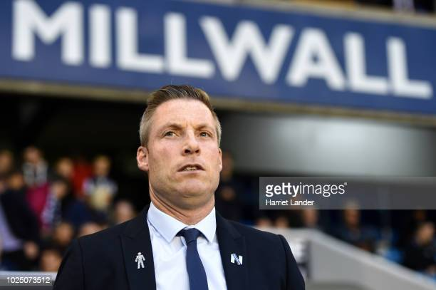 Neil Harris manager of Millwall looks on prior to the Carabao Cup Second Round match between Millwall and Plymouth Argyle at The Den on August 29...