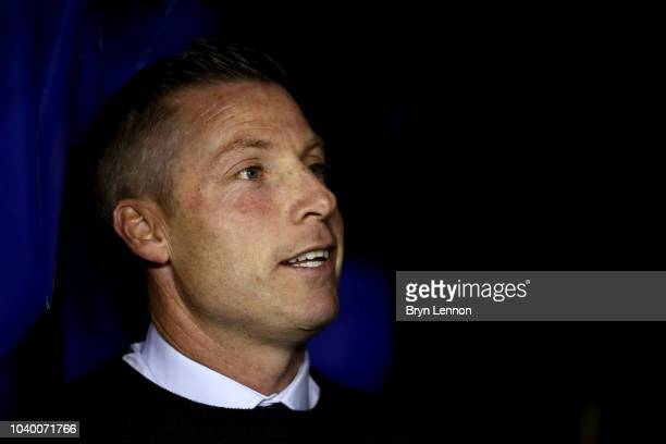 Neil Harris manager of Millwall looks on prior to the Carabao Cup Third Round match between Millwall and Fulham at The Den on September 25 2018 in...