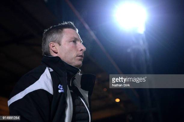 Neil Harris manager of Millwall looks on prior to The Emirates FA Cup Fourth Round match between Rochdale AFC and Millwall at Spotland Stadium on...