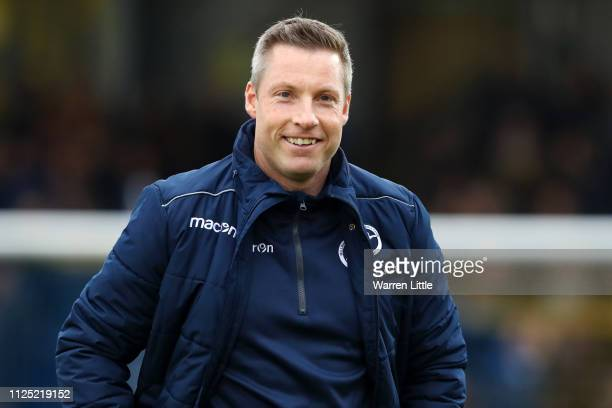 Neil Harris manager of Millwall looks on prior to the FA Cup Fifth Round match between AFC Wimbledon and Millwall at The Cherry Red Records Stadium...