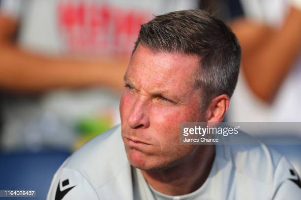 Neil Harris Manager of Millwall looks on prior to the PreSeason Friendly match between Southend and Millwall at Roots Hall on July 24 2019 in...