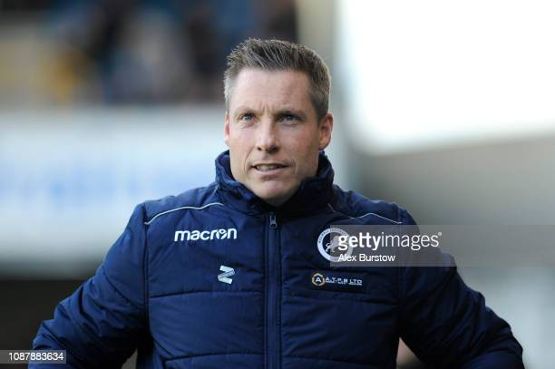 Neil Harris Manager of Millwall looks on prior to the Sky Bet Championship match between Millwall and Nottingham Forest at The Den on December 29...