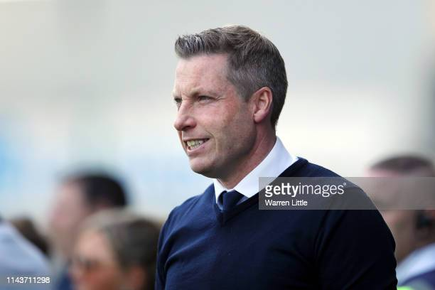 Neil Harris Manager of Millwall looks on prior to the Sky Bet Championship match between Millwall and Brentford at The Den on April 19 2019 in London...