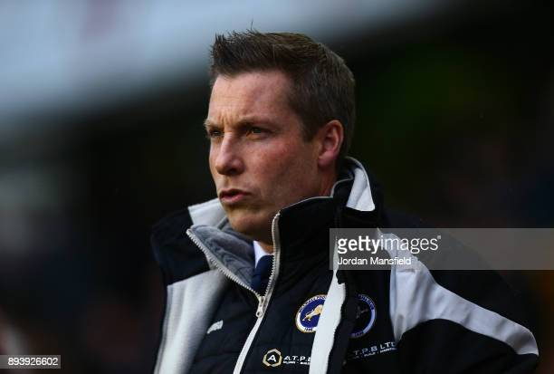 Neil Harris manager of Millwall looks on prior to the Sky Bet Championship match between Millwall and Middlesbrough at The Den on December 16 2017 in...