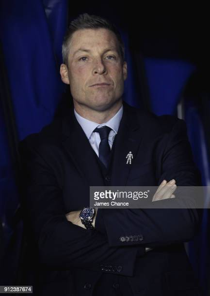 Neil Harris manager of Millwall looks on prior to the Sky Bet Championship match between Millwall and Derby County at The Den on January 30 2018 in...