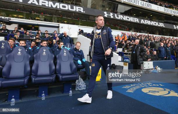 Neil Harris manager of Millwall makes his way to his seat prior to The Emirates FA Cup QuarterFinal match between Tottenham Hotspur and Millwall at...