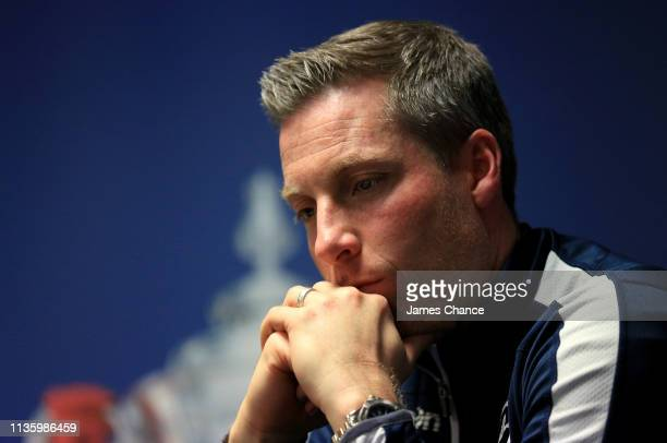 Neil Harris Manager of Millwall reacts during the Millwall FC press conference ahead of the FA Cup Quarter Final match between Millwall and Brighton...