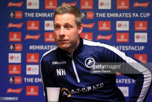 Neil Harris Manager of Millwall speaks to the media during the Millwall FC press conference ahead of the FA Cup Quarter Final match between Millwall...