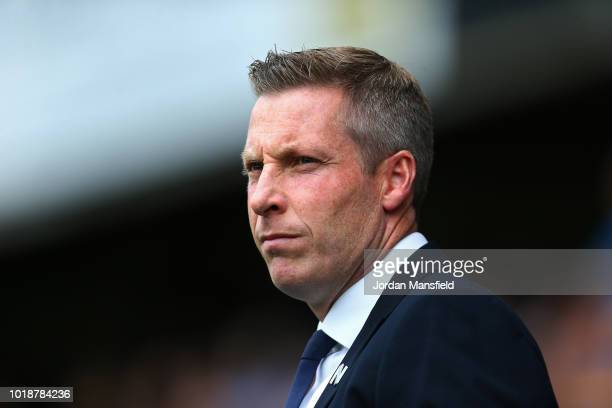 Neil Harris manager of Milwall looks on during the Sky Bet Championship match between Millwall and Derby County at The Den on August 18 2018 in...