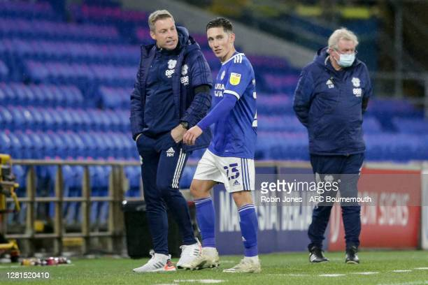 Neil Harris of Cardiff City with Harry Wilson who scored the equalising goal during the Sky Bet Championship match between Cardiff City and AFC...