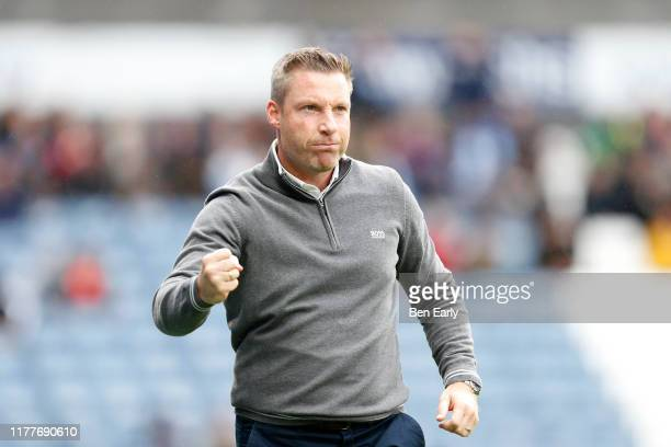 Neil Harris of Millwall celebrates his team scoring during the Sky Bet Championship match between Huddersfield Town and Millwall at John Smith's...