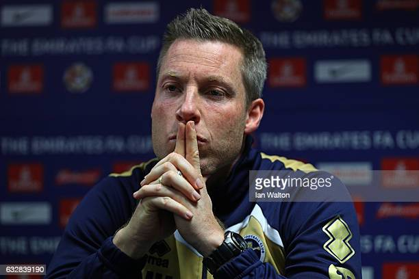 Neil Harris the Millwall manager speaks to the media during the Millwall Press Conference ahead of Sunday's FA Cup fixture against Watford at The Den...