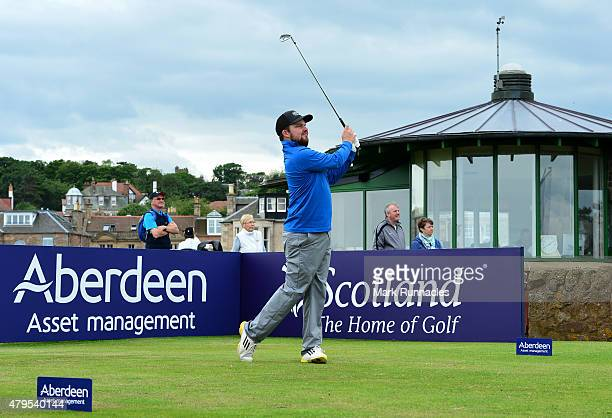 Neil Henderson of Renaissance in action on the 1st tee during the second day of the AAM Scottish Open Qualifier at North Berwick Golf Club on July 5...