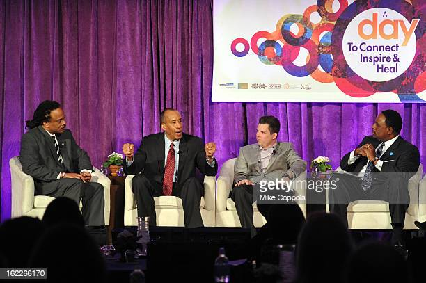 Neil Irvin Michael Mason Brennan Poole and James Brown attend the A Day To Connect Inspire And Heal Summit on February 21 2013 in New York City