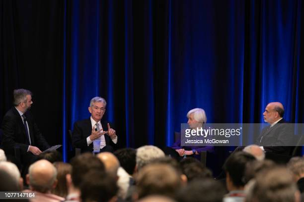 Neil Irwin of the New York Times leads Federal Reserve Chair Jerome Powell and former Chairs of the Federal Reserve Janet Yellen and Ben Bernanke...