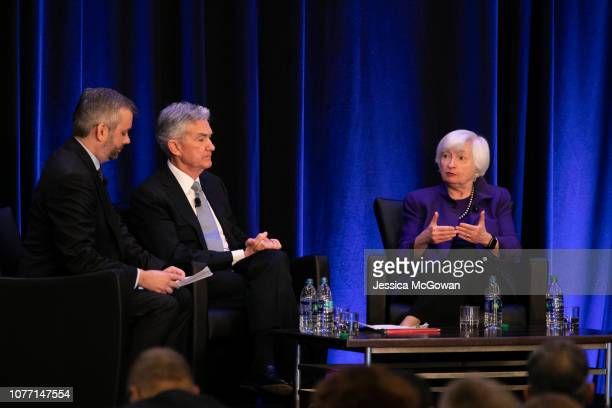 Neil Irwin of the New York Times leads Federal Reserve Chair Jerome Powell and former Chair of the Federal Reserve Janet Yellen during a panel...
