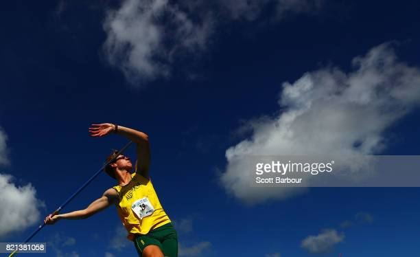 Neil Janse Van Rensburg of Australia competes during the Boys Javelin Throw Final at the Athletics on day 6 of the 2017 Youth Commonwealth Games at...