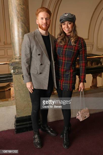 Neil Jones and Katya Jones attend the press night after party for Notre Dame De Paris in the Sky Bar at the London Coliseum on January 23 2019 in...